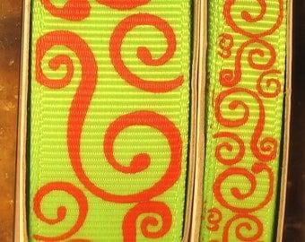"2 Yards 3/8"" or 7/8"" US Designer New Apple - Lime Green w/Red Scroll - Swirl Print Grosgrain Ribbon"
