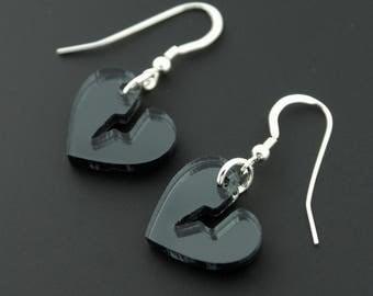 Black Mirror Heartbreaker Sterling Silver Earrings
