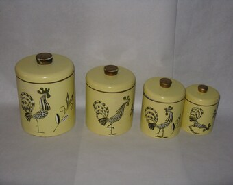 Set of 4 vintage metal canisters rooster round