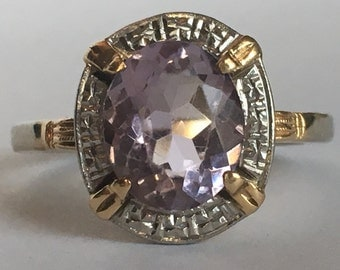 Vintage Amethyst Ring. 14K Yellow and White Gold. 3 Carat Amethyst. Unique Engagement Ring. February Birthstone. 6th Anniversary Gift.