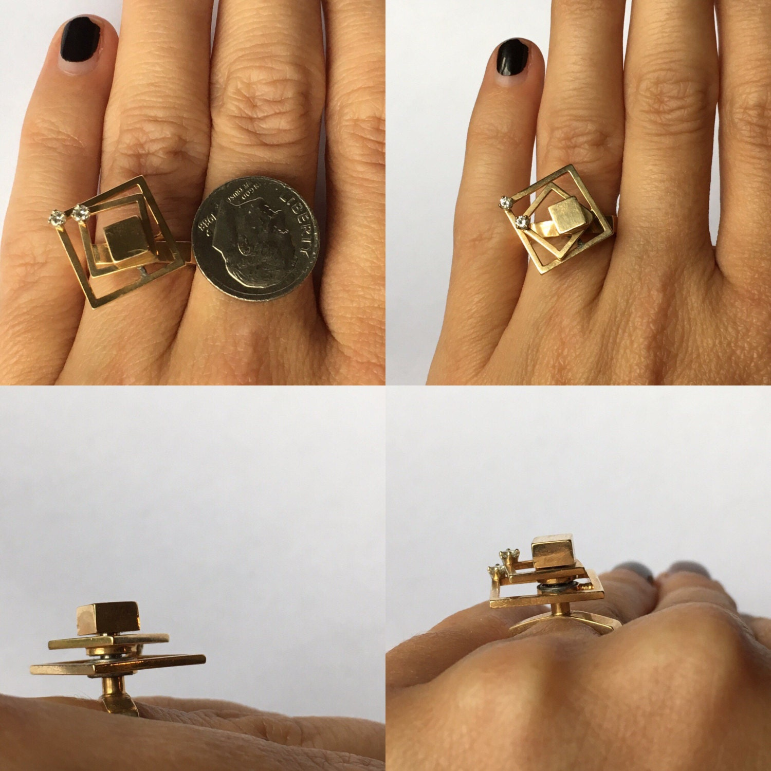 Gold And Diamond Spinner Ring