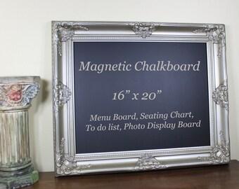 Framed Chalkboard Magnetic Kitchen Chalkboard, Menu Board, Wedding Chalkboard Sign, Black Board Office Wall Decor, Housewarming Gift 16x20