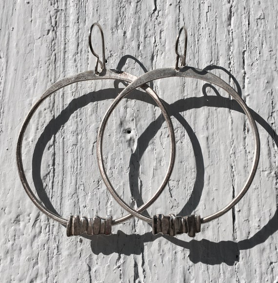 Large Everday Sterling Silver Hoop Dangles