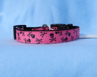 Pink Skull and Crossbones Dog Collar