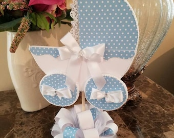 Blue And White Baby Carriage Centerpiece / Baby Shower Centerpiece / Unique Baby Shower Centerpiece