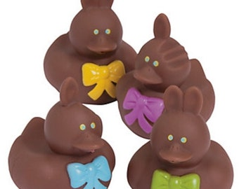 Chocolate Bunny Rubber Ducks (4) party favors/cupcake toppers, party supplies, rubber ducks, Easter, basket filler, chocolate bunny