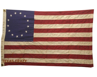 4 x 6 Foot Betsy Ross Flag Antiqued Cotton Historical American Flag Patriotic Decor