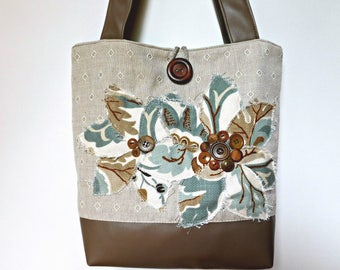 Tan Handbag, Large Tote Purse, Large Shoulder Bag, Tan Tote Bag, Fabric Handbag, Floral Tote Bag with Pockets, Fabric Tote Bag Faux Leather