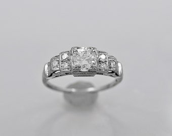 Antique Engagement Ring .55ct. Diamond & Platinum Art Deco - J36058