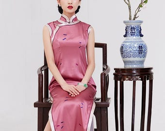 Retro Silk Qipao Dress W/ Wide Binding In Contrast Color Ankle Length