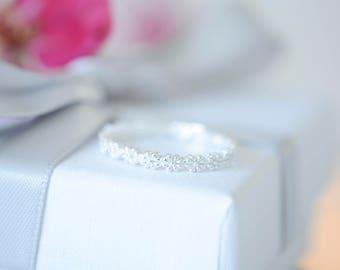 Sterling silver stacking ring, flower ring, stacking ring