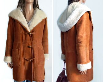 TAKE 20% OFF Hooded Shearling Suede Jacket// Coat//  shawl collar and cuffs,Sheepskin coat   // small/medium hippie//boho
