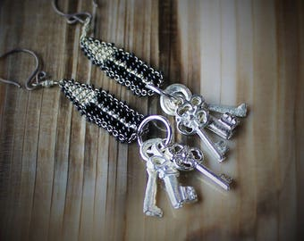 Locked Up Statement Earrings, Keys, Milagro, Arrow, Witchy, Black and Silver, Gunmetal, Metallic, Rocker, Steampunk, Witchy, Amulet