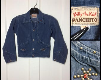 distressed 1950's Billy the Kid, Panchito selvedge sanforized denim jean Jacket jewel studs Rockabilly south western cowboy