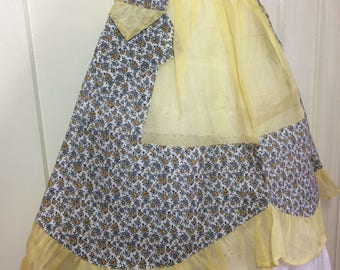 deadstock short half apron sheer yellow with white gray tiny flower patterned cotton panel ruffles 2 pockets scalloped design bowtie NOS #3