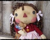 Primitive OOAK Raggedy Ann Folk Art Doll with Teddy Bear, Country Rag Doll, Keepsake Gift, OFG FAAP