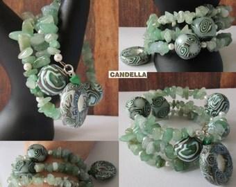 Jewelry Cuff Bracelet memory weddings polymer clay handmade semi precious beads