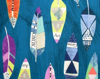 Fabric, Feathers, Teal, Dreamer, Windham Fabrics, Newsprint Art, By The Yard