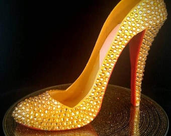 Gold High Heel (Louboutin Dafodil Inspired) color and label options
