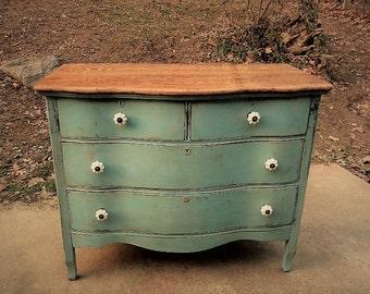 Duck Egg Blue Serpentine Dresser / Vintage Oak Dresser / Princess Dresser / Painted Furniture / Hand Painted Dresser / Painted Dresser