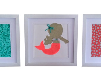 Framed Mermaid Artwork Set