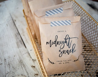 Midnight Snack Craft Paper Bag // Favor Bag // Wedding Favor Bag