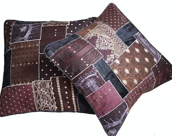 Indian Traditional Vintage Throw Pillows Protector For Couch Set of 2 Cotton 16 x 16 Ethnic Cushion Covers Case C16
