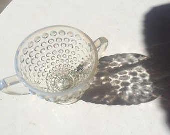 Fenton Clear and Opaque Glass Hobnail Creamer Dish