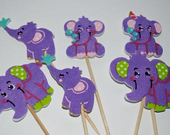 baby shower  new  baby purple yellow baby elephant  cupcake toppers x 6