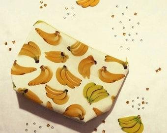 Banana cotton print handmade makeup bag