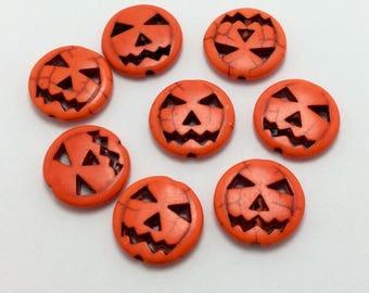 BULK 40 Pumpkin Beads, Halloween Beads, Jack-O-Lantern Beads, Bulk Beads (5-1299)