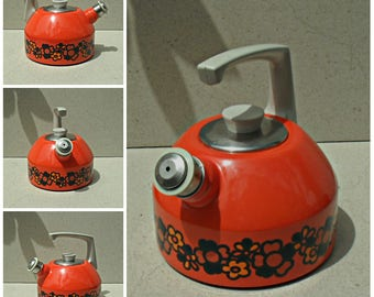Vintage Enamel Brabantia Kettle with Floral Design Diane 70s, Enamel stove top whistling kettle , vintage orange enamel kettle ,