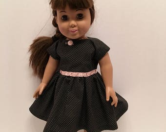 """18"""" Doll Dress: Cotton black and white polkadot dress for the American Girl and Maplelea doll"""