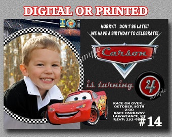 Disney Cars Invitations  YOU PRINT Digital or PRINTED  Birthday Party Invitation