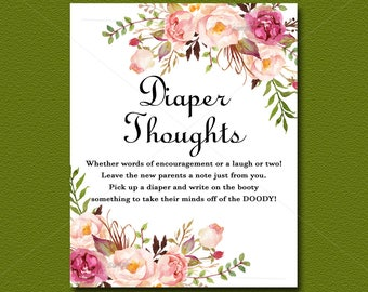 Floral Baby Shower Game, Diaper Thoughts Game Sign Printable, Peach Floral Boho Baby Shower Activity, Bohemian, DIY INSTANT DOWNLOAD  021