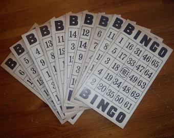 10 Vintage Bingo Cards - Vintage Beige BlackCardboard Bingo Cards - Vintage Bingo Stuff - Vintage Paper Ephemera Bingo Cards - Beige Bingo
