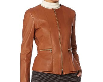 Women jacket, leather jacket, stylish jacket, jacket, womens leather jacket, camel jacket, custom jacket, ladies jacket