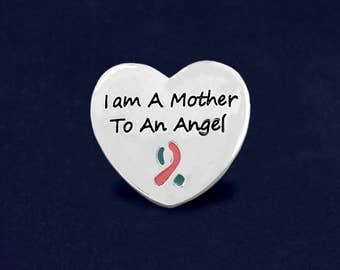 12 I Am A Mother To An Angel Pink & Blue Ribbon Pins (12 Pins) (P-129-16)