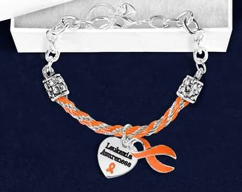 12 Leukemia Orange Ribbon Partial Rope Bracelets in Gift Boxes (12 Bracelets) (B-18-5LK)