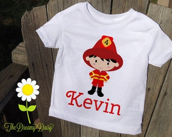 Personalized Firefighter Shirt for Boys - Fireman Infant Creeper - Baby Boy Personalized Bodysuit or T-Shirt - Customized One Piece