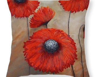 Red flower throw pillow,  Red and gold accent pillow, red  poppy pillow by Nancy Quiaoit