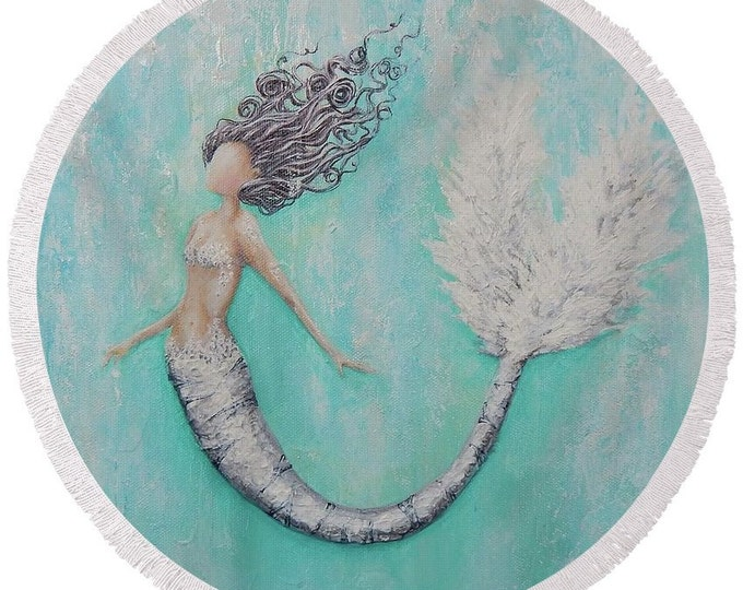 large round mermaid beach towel, mermaid festival blanket, mermaid picnic blanket, original painting by Nancy Quiaoit at NancyQart