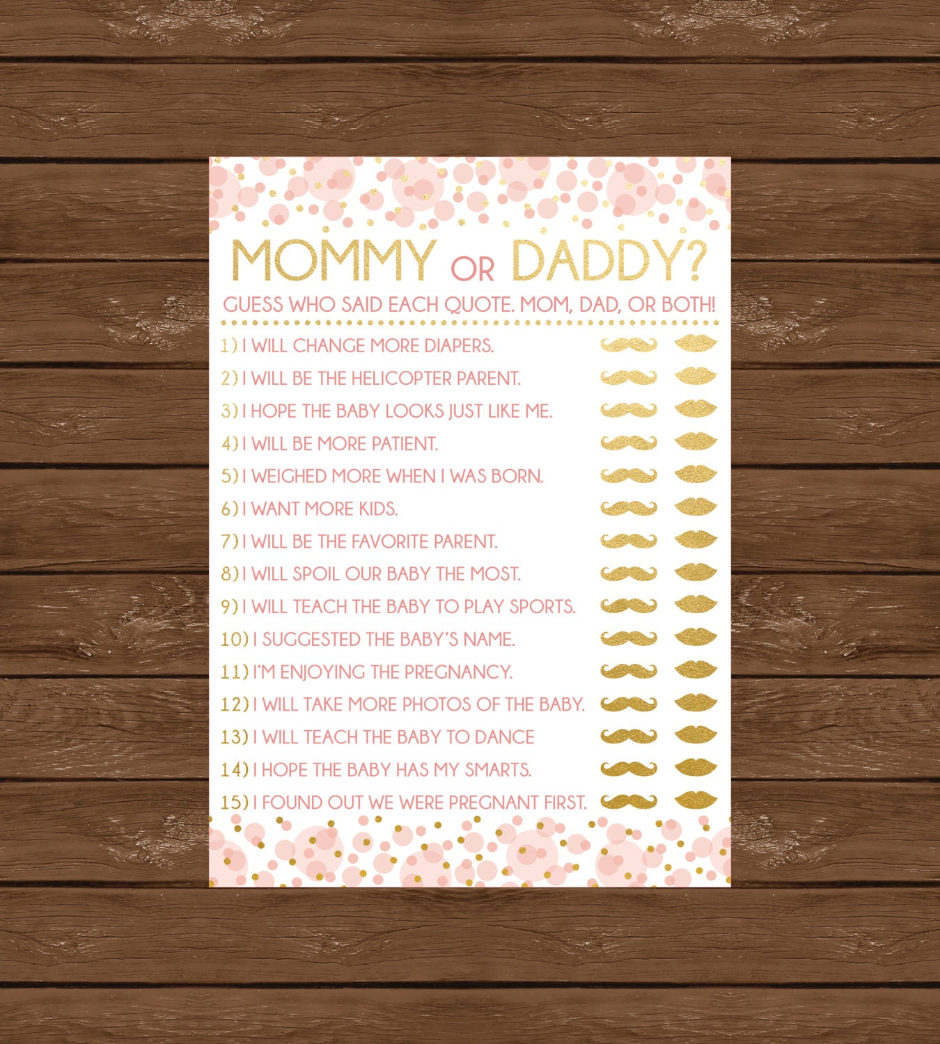 mommy or daddy printable baby shower game instant download
