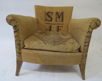 fabric chair made of vintage grain sacks
