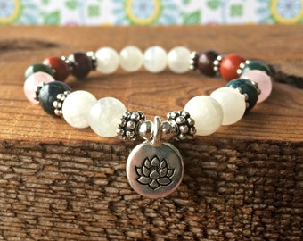 IVF & IUI Fertility Bracelet with Moonstone, Healing Crystals, Trying To Conceive, Feminine Energy-Emotional Support-Physical Endurance
