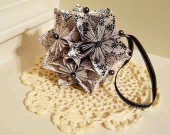 Black and White Origami Kusudama Flower Ball