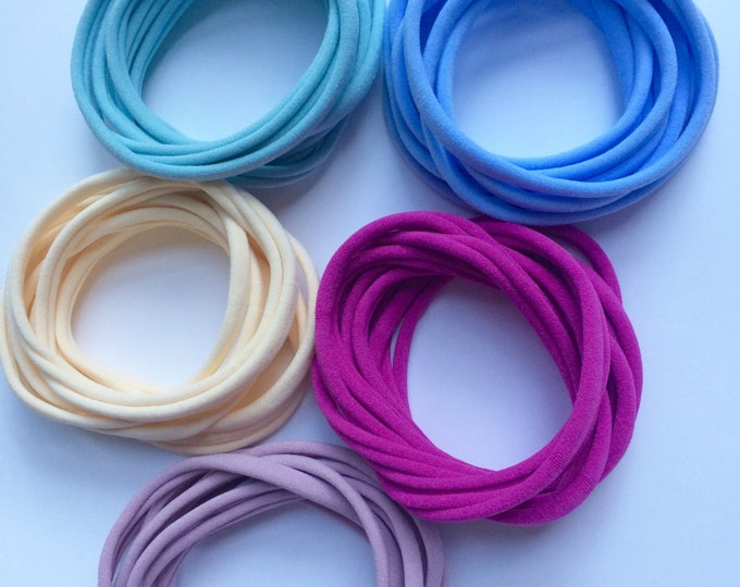 10 Pieces Thin Wholesale Nylon Headbands Thin Newborn Baby Toddler Adult Nylon Headbands 26mm 5-6mm wide 5 New Colours