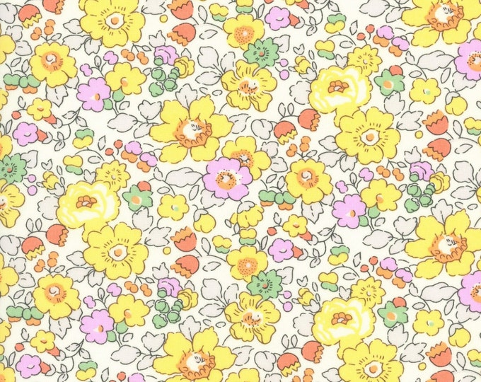 Liberty of London Yellow BETSY W Yellow Liberty Tana Lawn Fabric Fat Quarter Half Metre Full Metre From the Liberty Classic Collection