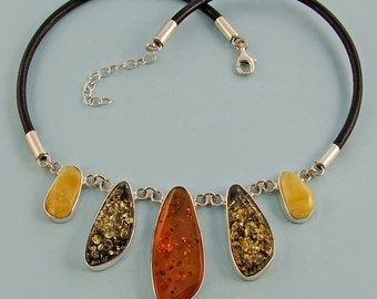 Genuine handmade Baltic amber sterling silver necklace.