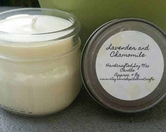 Lavender and Chamomile Soy Candle - 4 oz Mason Jar Candle - Relaxing Candle - Calming Candle - Hand Poured Candle - Party Favor